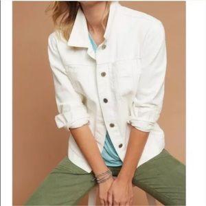 Anthropologie white denim stretch trucker jacket